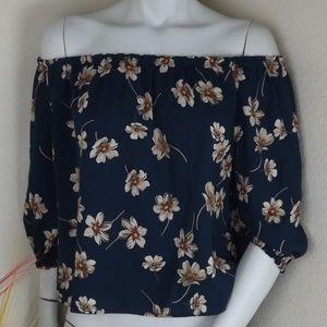 Mid Sleeved Off Shoulder Blue&Brown Floral Blouse